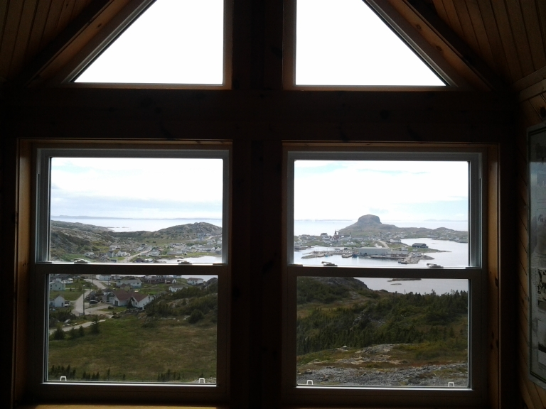 Through the window of the Wireless Interpretation Centre in Fogo, NL
