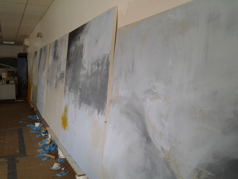 Early days of the Fogo Island Painting Project, a 6 x 6 foot painting of each of the communities on Fogo Island.