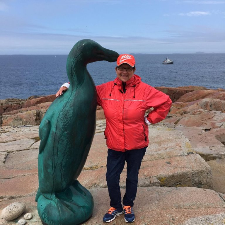 Joe Batt's Arm Trail leads to the Great Auk statue.