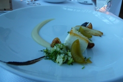 Halibut with roasted parnip and plum.