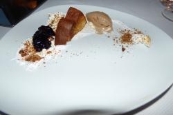 Tea and toast. Tea Icecream with Brioche toast, blueberry jam and almonds.